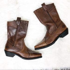 Harley Davidson brown leather riding boots